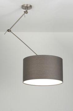 hanglamp 30007: modern, staal , rvs, stof, grijs, rond ... Knikarm