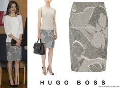 Hugo Boss Marala Patterned Pencil Skirt. Queen Letizia of Spain visits the Keio University Hospital in Tokyo, Japan. King Felipe and Queen Letizia are on a state visit to Japan. April 6, 2017.