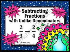 Fractions Subtracting Fractions with Unlike Denominators Math Task Cards from Promoting Success on TeachersNotebook.com -  (16 pages)  - Subtracting Fractions: You will receive 30 math fraction task cards focusing on subtracting fractions with unlike denominators. You will also receive a student response form and answer key.