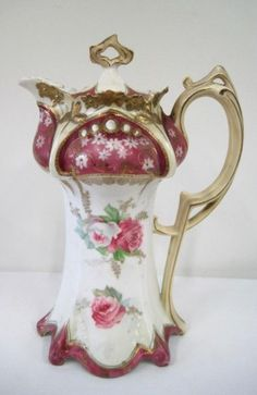 PRUSSIA CHOCOLATE POT W/ JEWELS : Lot 143
