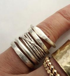 Silver Stacking Rings, Stackable Rings, Silver Jewelry, Hammered Ring, Interlocking Ring, Handmade Rings, Signet Ring, Venexia Jewelry. Sterling silver rings, handmade, shown in the first picture…MoreMore  #SilverJewelry