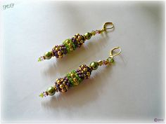 Lime, Olive & Lavender Dangle Earring - Featuring Gold Accents and Seed Bead Woven Tubular Beaded Bead Design