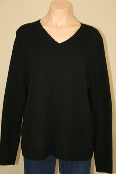 NEW Blooingdale's Black Cashmere V-neck Pullover Sweater size L XL #Bloomingdales #VNeck