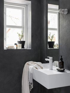 Concrete bathroom walls