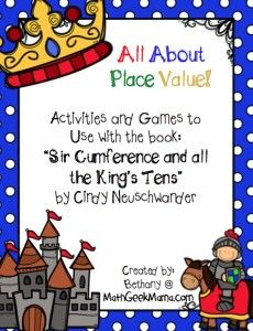 "FREE game to use with the book, ""Sir Cumference and All the King's Tens!"" Such a fun story to help teach place value!"