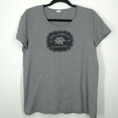 J.Crew grey top size large Adorable top with cute French floral design on the front. Very clean, no holes. J. Crew Tops Tees - Short Sleeve