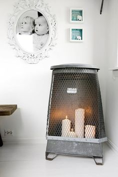 old trash can filled with lit candles Candles In Fireplace, Country Kitchen Farmhouse, Interior Inspiration, Interior And Exterior, Repurposed, Sweet Home, Canning, Homes, Colour