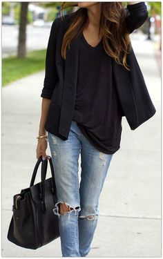 I really need to try styling my destroyed jeans with a blazer and casual t.
