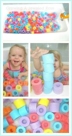 Make bath time fun again ! Just cut a pool noodle into pieces, and There you go, bath time fun time ! Fun Games For Kids, Diy For Kids, Cool Kids, Crafts For Kids, Kids Fun, Fun Math Activities, Toddler Activities, Indoor Activities, Summer Activities