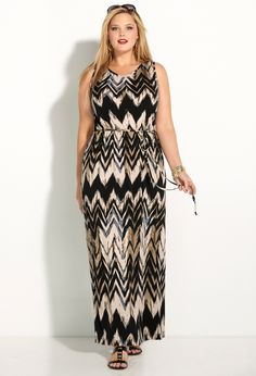 Neutral Chevron Print Maxi Dress