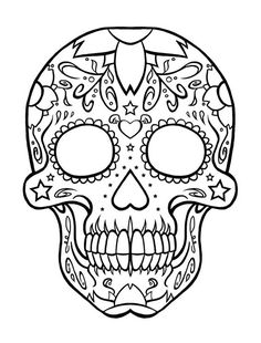 sugar candy skull coloring pages sketch coloring page - Sugar Candy Skulls Coloring Pages