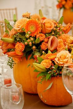 Pumpkin bouquet for centerpieces perfect for either a Halloween wedding or a Thanksgiving table! Dark or black flowers or filler could be added to either as well Thanksgiving Table Settings, Thanksgiving Decorations, Table Decorations, Centerpiece Ideas, Pumpkin Centerpieces, Wedding Centerpieces, Wedding Decorations, Pumpkin Arrangements, Thanksgiving Ideas