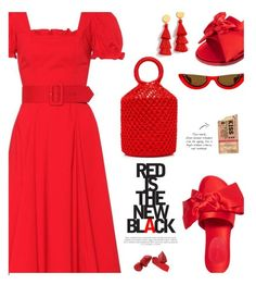 """""""Red is the new black"""" by hamaly ❤ liked on Polyvore featuring Staud, Simone Rocha, J.Crew, PAWAKA, ootd, dresses, outfits and trends"""