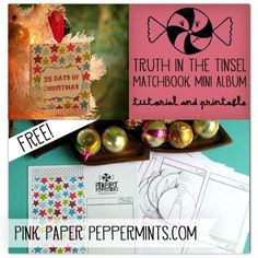 Free printable 25-page Matchbook Mini Album, perfect for Truth in the Tinsel or Daily December from Melissa at PinkPaperPeppermints.com