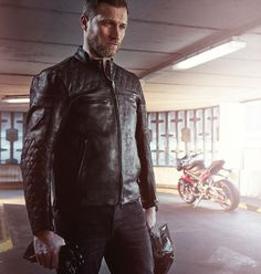 05a57f071d46 In a soft matte black leather with embossed logos and quilted panels, the  Triumph Custom Quilted Leather Jacket looks cool on and off the bike.