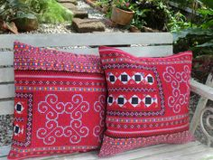 Boho Pillows Embroidered Red And Black Hmong Embroidery And Old Style Applique by SiameseDreamDesign #boho #pillows #cushions