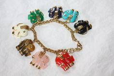 Vintage Charm Bracelet Lucite Elephant Faux Jade 1970s by patwatty, $45.00