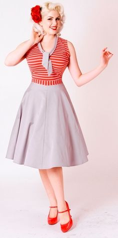 6eeff2559d2 Bettie Page Pinup Style Red Gray Stripe Swing Dress