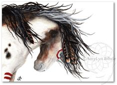 Majestic Mustang Pinto Horse War Paint - Art Print by Bihrle mm127