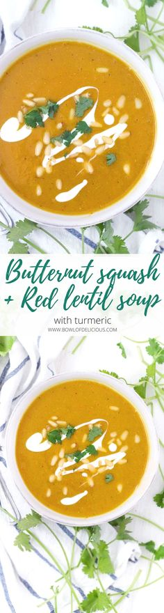 This vegan, nutrient-packed Butternut Squash and Red Lentil Soup recipe is easy, delicious, and packed with fiber, protein, and vitamins. Turmeric adds a warm, peppery flavor as well as immune-boosting properties. #Vegan #Turmeric #Butternutsquash #GlutenFree #RedLentils