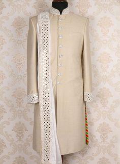 Miraculous Beige Silk Jodhpuri silk jodhpuri With Chicken Mirror Embroidery And Skarf Mens Indian Wear, Indian Men Fashion, Indian Attire, Mens Fashion, Mens Sherwani, Sherwani Groom, Wedding Sherwani, Wedding Wear, Wedding Attire