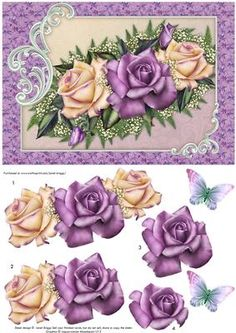 HERITAGE ROSES Card Topper Decoupage on Craftsuprint designed by Janet Briggs - Card topper with 3d step by step decoupage, featuring pretty heritage roses in shades of lilac and lemon.2 sentiment tags, including one blank. The other reads, Happy Birthday.NOTE A coordinating A4 calendar with decoupage is available. - Now available for download!