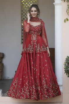 May 2020 - Buy Embellished Silk Lehenga Set by Astha Narang at Aza Fashions Party Wear Indian Dresses, Pakistani Fashion Party Wear, Designer Party Wear Dresses, Pakistani Wedding Outfits, Pakistani Dresses Casual, Indian Fashion Dresses, Indian Bridal Outfits, Indian Gowns Dresses, Dress Indian Style