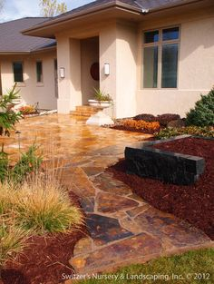 Natural Stone Sidewalk & Planter - modern - entry - minneapolis - Switzer's Nursery & Landscaping, Inc.
