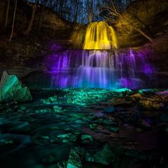 You Can See Illuminated Waterfalls In Ontario All Year Round Stuff To Do, Things To Do, All Year Round, Ontario, Places To See, Attraction, Toronto, Waterfall, Beautiful Places