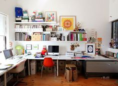 busy home workspace