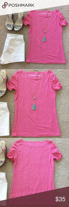 """Lilly Pulitzer Lana Printed Top Lilly Pulitzer Lana Printed Top. Super cute and comfy pink with white polka dots💕 Boatneck, synch sleeves. Laying flat approx 24"""" Shem, approx 17"""" pit to pit. 100% cotton. Size S. Excellent condition. #973 Lilly Pulitzer Tops Tees - Short Sleeve"""