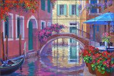 A Touch of Romance by Mikki Senkarik - Mediterranean Venice Ceramic Tile Mural Backsplash - MSA127