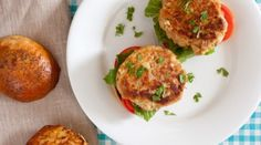 """Grilled Tuna Burgers with Spicy Mayo Recipe courtesy Guy Fieri. """"Our Chardonnay is wonderful with grilled Ahi Tuna burgers-we love the recipe by Guy Fieri"""" says Dennis Lewis of Lewis Cellars. Burger Recipes, Ww Recipes, Seafood Recipes, Cooking Recipes, Healthy Recipes, Healthy Meals, Healthy Tuna, Detox Recipes, Fish Recipes"""