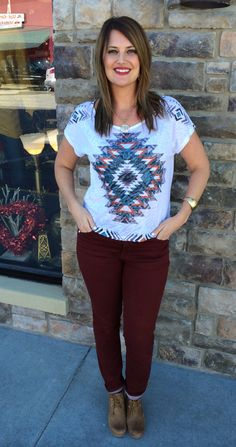"Desi Top - We ""heart"" this flowy Aztec lightweight top! Great for the warm weather ahead!! (1) S, (2) M, (2) L. - $22"