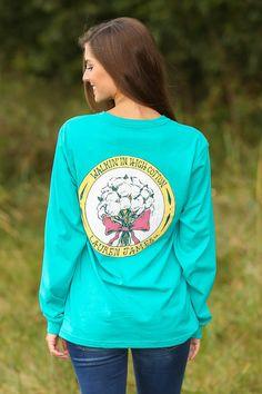 LAUREN JAMES:Walking In High Cotton Long Sleeve T-shirt-Tropical Green