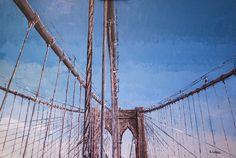 Primer cuadro de una serie de 8 sobre el famoso puente de Brooklyn,...