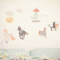 Wall Decals Horses (Reusable and removable fabric stickers, not vinyl) - Pretty Horses