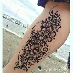 Find the best Mehndi/Henna Tattoo designs for legs. Henna Hand Designs, Maori Designs, Best Mehndi Designs, Henna Tattoo Designs, Mehndi Tattoo, Henna Ink, Design Tattoo, Mandala Tattoo Design, Thigh Henna