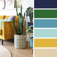 Beautiful small living room color schemes that will make your room look professionally designed for you that are cheap and simple to do. Blue And Green Living Room, Good Living Room Colors, Best Bedroom Colors, Living Room Color Schemes, Green Rooms, Living Room Designs, Living Room Decor, House Color Schemes Interior, Living Rooms