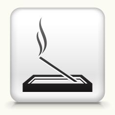 Square Button with Incense vector art illustration