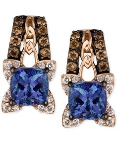 Le Vian Blueberry Tanzanite® (9/10 ct. t.w.), Chocolate Diamonds® and Vanilla Diamond® Earrings in 14k Strawberry Gold® - Le Vian Shop - Jewelry & Watches - Macy's