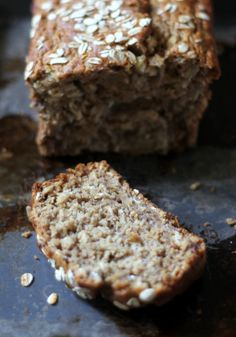 Whole Wheat Oatmeal Applesauce Banana Bread {healthy + vegan-friendly}