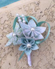 NEW.....Paper Flower Boutonniere/ wedding paper por kreationsbykia