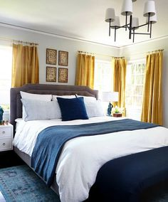 Gold Curtains - Eclectic - bedroom - Benjamin Moore Gray Owl - Emily Henderson