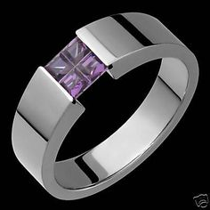 Titanium+Ring+Purple+Amethyst+Tension+Set+Wedding+Bands