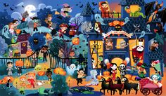 Cherche et trouve Happy Halloween – Léa Fabre – Illustration – kindergarden Image Halloween, Theme Halloween, Happy Halloween, Hidden Pictures Printables, Mobiles For Kids, Picture Writing Prompts, Cartoon Art Styles, How To Speak French, Amazing Art
