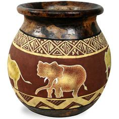 african pots | Tabletop - Gold Coast Africa Product Information - ELEPHANT CLAY POT