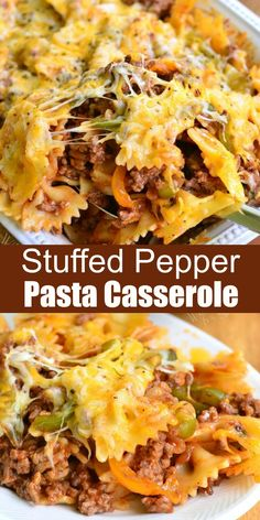 Stuffed Pepper Casserole Inspired by the classic stuffed bell peppers, this comforting pasta casserole holds all those flavors inside. Here, you can have two great dishes in one. Stuffed Pepper Casserole, Pasta Casserole, Easy Casserole Recipes, Casserole Dishes, Baked Stuffed Peppers, Beef Dishes, Pasta Dishes, Food Dishes, Main Dishes