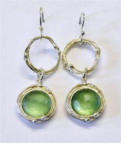 Roman glass earrings. Designer Sterling silver by Bluenoemi, $160.00