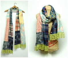 Scrappy Scarf Shabby Chic Scarf Boho Scarf Mori Girl Scarf Upcycled Scarf Neck Wrap by Primitive Fringe Free People Anthropologie Style by PrimitiveFringe